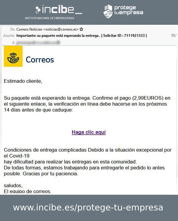 Campaña de phishing suplantando a Correos