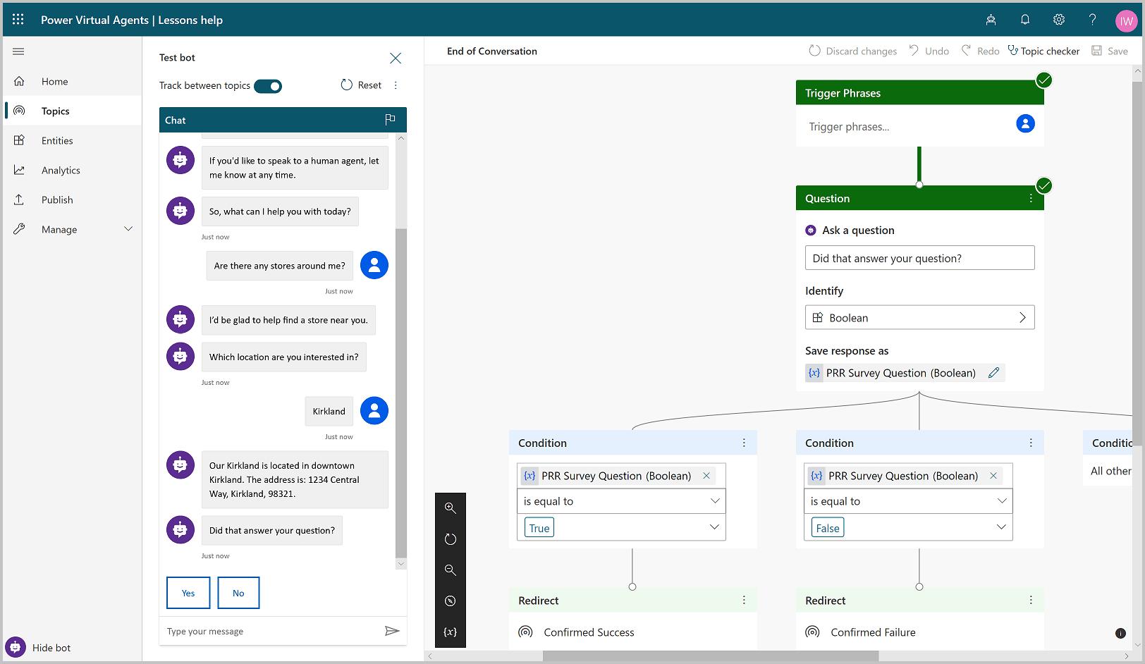 Diseño del chatbot en Power Virtual Agents