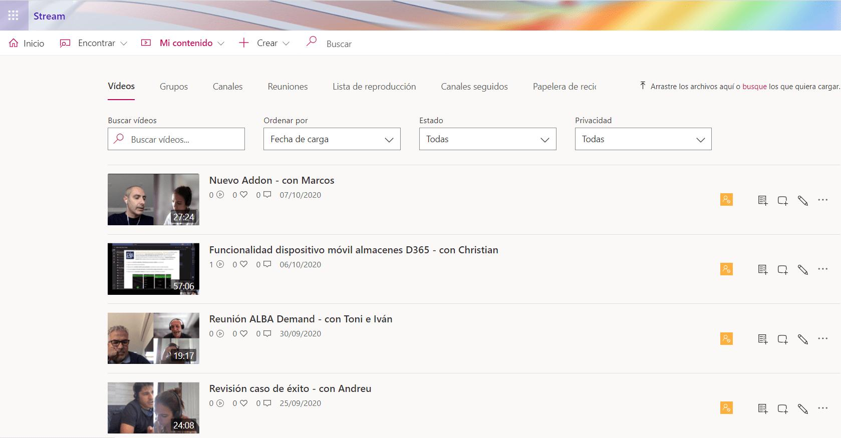 Portal de Stream, donde se guardan las grabaciones de reuniones